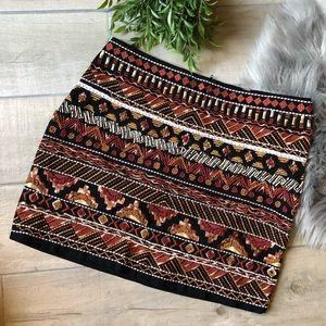 H&M embroidered/beaded tribal mini skirt.